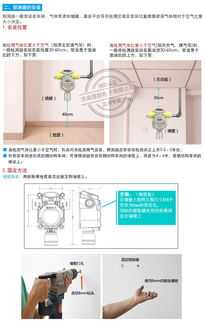 可燃气体探测器安装图