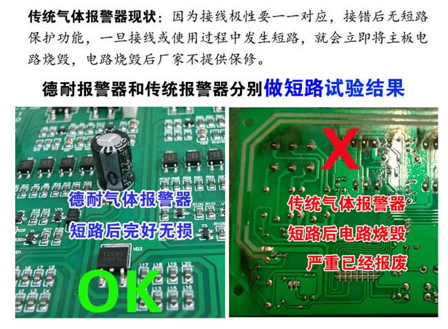 可燃气体报警器防短路设计